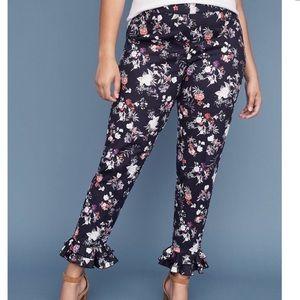 Lane Bryant Blue Floral Ruffle Hem Allie Pants